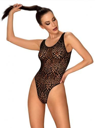 Offener Tanga-Bodysuit mit auffälligem Rücken - Schwarz