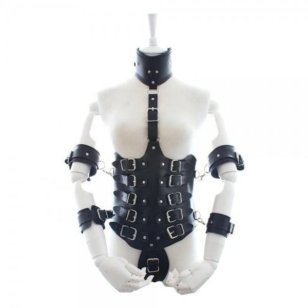 Bondagebody mit Handfesseln und Halsband