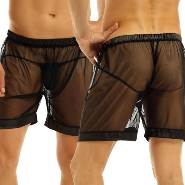 Nylon Boxershorts mit String