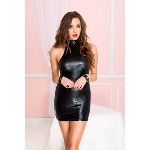 Hochgeschlossen Knopfverschluss Wetlook Kleid