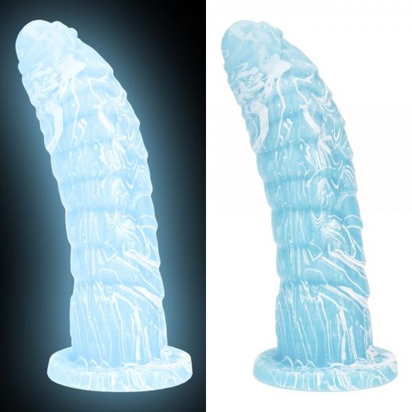 Glow in the Dark Drachen Dildo - Ice blue
