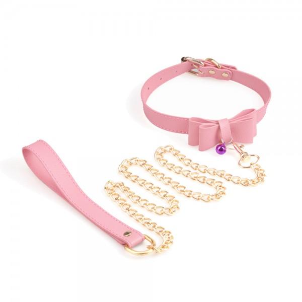 Halsband mit Schleife und Leine - Rosa