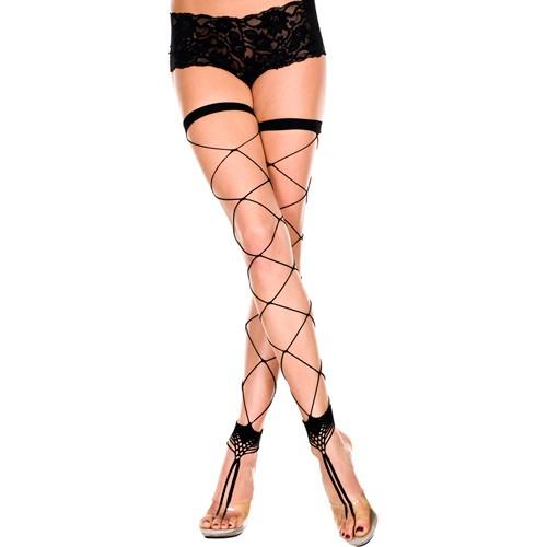 Netzstrümpfe ohne Füße mit Zehenring